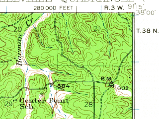 Reduced fragment of topographic map en--usgs--063k--062951--(1933)--N038-00_W091-30--N037-45_W091-15; towns and cities Steelville