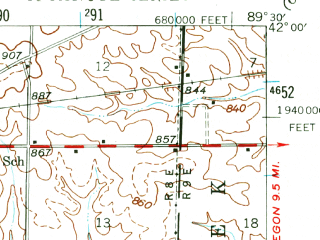 Reduced fragment of topographic map en--usgs--063k--062972--(1946)--N042-00_W089-45--N041-45_W089-30; towns and cities Sterling, Rock Falls, Nelson, Polo