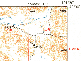 Reduced fragment of topographic map en--usgs--063k--062979--(1951)--N042-30_W101-45--N042-15_W101-30