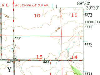 Reduced fragment of topographic map en--usgs--063k--062980--(1947)--N039-30_W088-45--N039-15_W088-30; towns and cities Stewardson, Strasburg, Windsor