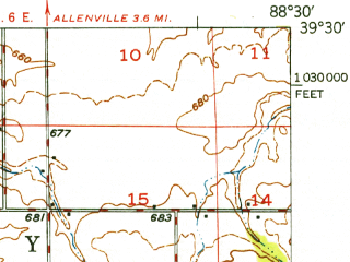 Reduced fragment of topographic map en--usgs--063k--062980--(1949)--N039-30_W088-45--N039-15_W088-30; towns and cities Stewardson, Strasburg, Windsor