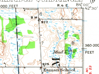 Reduced fragment of topographic map en--usgs--063k--062992--(1919)--N042-30_W084-15--N042-15_W084-00 in area of Portage Lake; towns and cities Chelsea, Grass Lake, Stockbridge