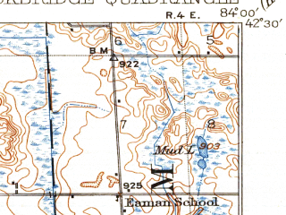 Reduced fragment of topographic map en--usgs--063k--062992--(1922)--N042-30_W084-15--N042-15_W084-00 in area of Portage Lake; towns and cities Chelsea, Grass Lake, Stockbridge