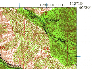 Reduced fragment of topographic map en--usgs--063k--062997--(1955)--N040-30_W112-30--N040-15_W112-15; towns and cities Ophir, Rush Valley, Stockton