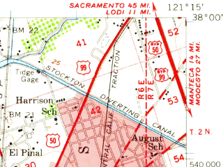 Reduced fragment of topographic map en--usgs--063k--062998--(1952)--N038-00_W121-30--N037-45_W121-15; towns and cities Stockton, August, Country Club, Lathrop, French Camp