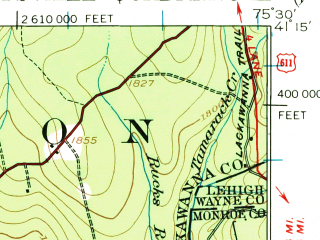 Reduced fragment of topographic map en--usgs--063k--063002--(1922)--N041-15_W075-45--N041-00_W075-30 in area of Pocono Lake
