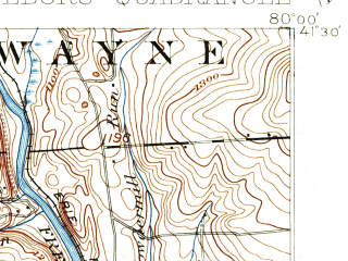Reduced fragment of topographic map en--usgs--063k--063006--(1911)--N041-30_W080-15--N041-15_W080-00 in area of Lake Wilheim; towns and cities Stoneboro, Jackson Center, New Lebanon