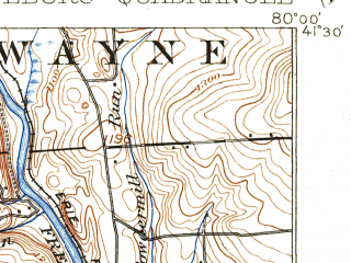Reduced fragment of topographic map en--usgs--063k--063006--(1913)--N041-30_W080-15--N041-15_W080-00 in area of Lake Wilheim; towns and cities Jackson Center, New Lebanon, Sandy Lake