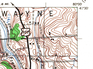Reduced fragment of topographic map en--usgs--063k--063006--(1943)--N041-30_W080-15--N041-15_W080-00 in area of Lake Wilheim; towns and cities New Lebanon, Sandy Lake, Sheakleyville