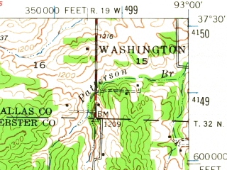Reduced fragment of topographic map en--usgs--063k--063023--(1947)--N037-30_W093-15--N037-15_W093-00 in area of Fellows Lake; towns and cities Fair Grove, Strafford
