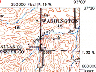 Reduced fragment of topographic map en--usgs--063k--063023--(1948)--N037-30_W093-15--N037-15_W093-00 in area of Fellows Lake; towns and cities Fair Grove, Strafford
