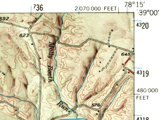 Reduced fragment of topographic map en--usgs--063k--063026--(1947)--N039-00_W078-30--N038-45_W078-15; towns and cities Toms Brook, Strasburg