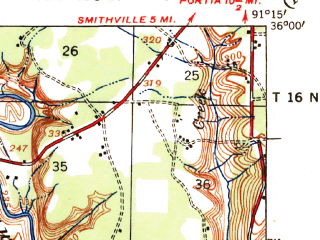 Reduced fragment of topographic map en--usgs--063k--063034--(1941)--N036-00_W091-30--N035-45_W091-15; towns and cities Strawberry, Sulphur Rock