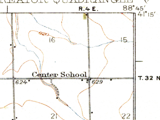 Reduced fragment of topographic map en--usgs--063k--063037--(1927)--N041-15_W089-00--N041-00_W088-45; towns and cities Streator, Grand Ridge, Kangley, Leonore