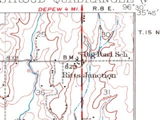 Reduced fragment of topographic map en--usgs--063k--063042--(1929)--N035-45_W096-45--N035-30_W096-30; towns and cities Paden
