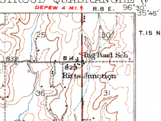 Reduced fragment of topographic map en--usgs--063k--063042--(1932)--N035-45_W096-45--N035-30_W096-30; towns and cities Paden