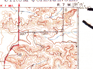 Reduced fragment of topographic map en--usgs--063k--063043--(1930)--N044-45_W091-30--N044-30_W091-15; towns and cities Strum, Eleva