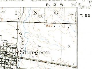Reduced fragment of topographic map en--usgs--063k--063047--(1917)--N039-15_W092-30--N039-00_W092-15; towns and cities Hallsville, Harrisburg, Sturgeon