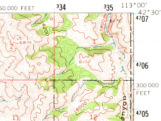Reduced fragment of topographic map en--usgs--063k--063055--(1958)--N042-30_W113-15--N042-15_W113-00