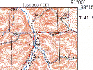Reduced fragment of topographic map en--usgs--063k--063065--(1949)--N038-15_W091-15--N038-00_W091-00; towns and cities Sullivan, Bourbon, Oak Grove, St. Cloud