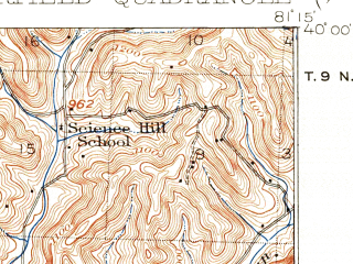 Reduced fragment of topographic map en--usgs--063k--063089--(1909)--N040-00_W081-30--N039-45_W081-15 in area of Senecaville Lake; towns and cities Batesville, Lore City, Quaker City