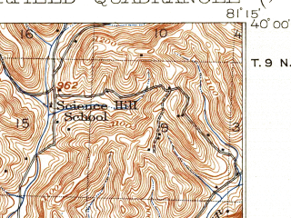 Reduced fragment of topographic map en--usgs--063k--063089--(1911)--N040-00_W081-30--N039-45_W081-15 in area of Senecaville Lake; towns and cities Batesville, Lore City, Quaker City