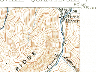 Reduced fragment of topographic map en--usgs--063k--063090--(1913)--N038-30_W081-00--N038-15_W080-45; towns and cities Summersville