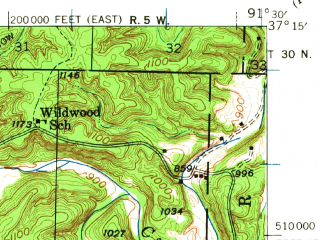 Reduced fragment of topographic map en--usgs--063k--063091--(1946)--N037-15_W091-45--N037-00_W091-30; towns and cities Summersville