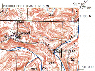 Reduced fragment of topographic map en--usgs--063k--063091--(1948)--N037-15_W091-45--N037-00_W091-30; towns and cities Summersville