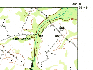 Reduced fragment of topographic map en--usgs--063k--063092--(1971)--N033-45_W080-30--N033-30_W080-15; towns and cities Paxville, Pinewood, Summerton
