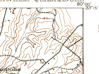 Reduced fragment of topographic map en--usgs--063k--063094--(1920)--N033-15_W080-15--N033-00_W080-00; towns and cities Summerville, Ladson, Lincolnville