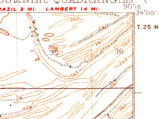 Reduced fragment of topographic map en--usgs--063k--063097--(1935)--N034-00_W090-30--N033-45_W090-15; towns and cities Glendora, Sumner, Webb