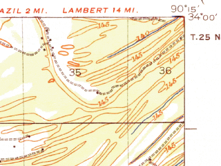 Reduced fragment of topographic map en--usgs--063k--063097--(1939)--N034-00_W090-30--N033-45_W090-15; towns and cities Sumner, Webb, Glendora