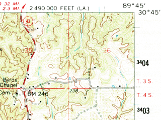 Reduced fragment of topographic map en--usgs--063k--063102--(1961)--N030-45_W090-00--N030-30_W089-45; towns and cities Sun