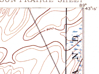 Reduced fragment of topographic map en--usgs--063k--063105--(1890)--N043-15_W089-15--N043-00_W089-00; towns and cities Sun Prairie, Cambridge, Cottage Grove, Deerfield