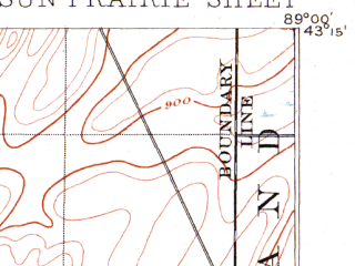 Reduced fragment of topographic map en--usgs--063k--063105--(1896)--N043-15_W089-15--N043-00_W089-00; towns and cities Sun Prairie, Cambridge, Cottage Grove, Deerfield