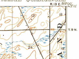 Reduced fragment of topographic map en--usgs--063k--063105--(1907)--N043-15_W089-15--N043-00_W089-00; towns and cities Sun Prairie, Cottage Grove, Deerfield, Marshall