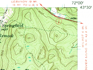 Reduced fragment of topographic map en--usgs--063k--063106--(1955)--N043-30_W072-15--N043-15_W072-00 in area of Sunapee Lake; towns and cities Newport