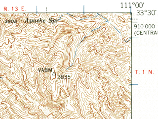 Reduced fragment of topographic map en--usgs--063k--063122--(1948)--N033-30_W111-15--N033-15_W111-00; towns and cities Superior