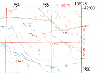 Reduced fragment of topographic map en--usgs--063k--063124--(1958)--N042-00_W109-00--N041-45_W108-45; towns and cities Superior