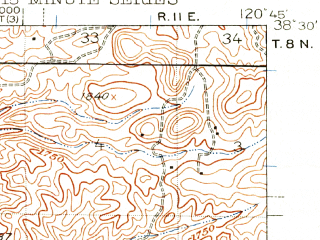 Reduced fragment of topographic map en--usgs--063k--063159--(1941)--N038-30_W121-00--N038-15_W120-45; towns and cities Ione, Amador City, Jackson, Plymouth