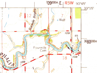 Reduced fragment of topographic map en--usgs--063k--063182--(1969)--N033-15_W091-00--N033-00_W090-45; towns and cities Hollandale