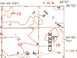 Reduced fragment of topographic map en--usgs--063k--063189--(1950)--N046-00_W094-45--N045-45_W094-30 in area of Little Mound Lake; towns and cities Burtrum, Flensburg, Grey Eagle