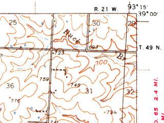 Reduced fragment of topographic map en--usgs--063k--063194--(1939)--N039-00_W093-30--N038-45_W093-15; towns and cities Emma, Houstonia, Hughesville