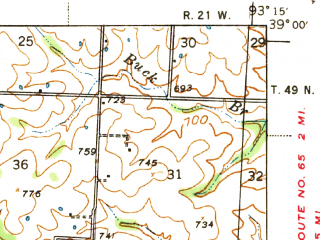 Reduced fragment of topographic map en--usgs--063k--063194--(1941)--N039-00_W093-30--N038-45_W093-15; towns and cities La Monte, Sweet Springs, Emma