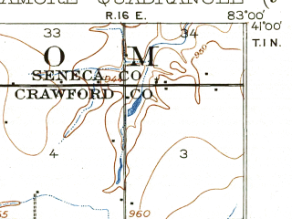 Reduced fragment of topographic map en--usgs--063k--063201--(1906)--N041-00_W083-15--N040-45_W083-00; towns and cities Nevada, Sycamore