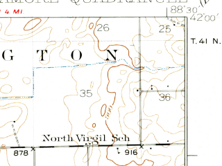 Reduced fragment of topographic map en--usgs--063k--063202--(1937)--N042-00_W088-45--N041-45_W088-30; towns and cities Sycamore, Cortland, Hinckley, Maple Park