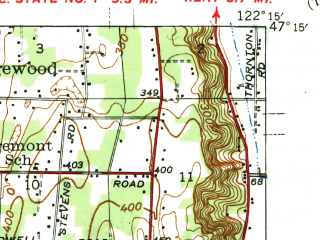 Reduced fragment of topographic map en--usgs--063k--063235--(1944)--N047-15_W122-30--N047-00_W122-15; towns and cities Parkland, Puyallup, South Hill, Spanaway, Elk Plain
