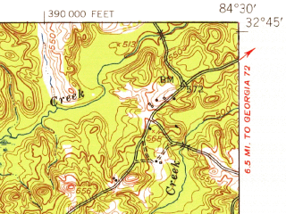 Reduced fragment of topographic map en--usgs--063k--063247--(1950)--N032-45_W084-45--N032-30_W084-30; towns and cities Geneva, Talbotton, Waverly Hall