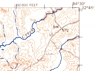 Reduced fragment of topographic map en--usgs--063k--063247--(1955)--N032-45_W084-45--N032-30_W084-30; towns and cities Geneva, Talbotton, Waverly Hall